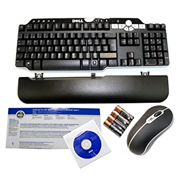 Genuine DELL Bluetooth Wireless MultiMedia Black Silver 104 Keys Keyboard & Mouse Set Part Numbers: