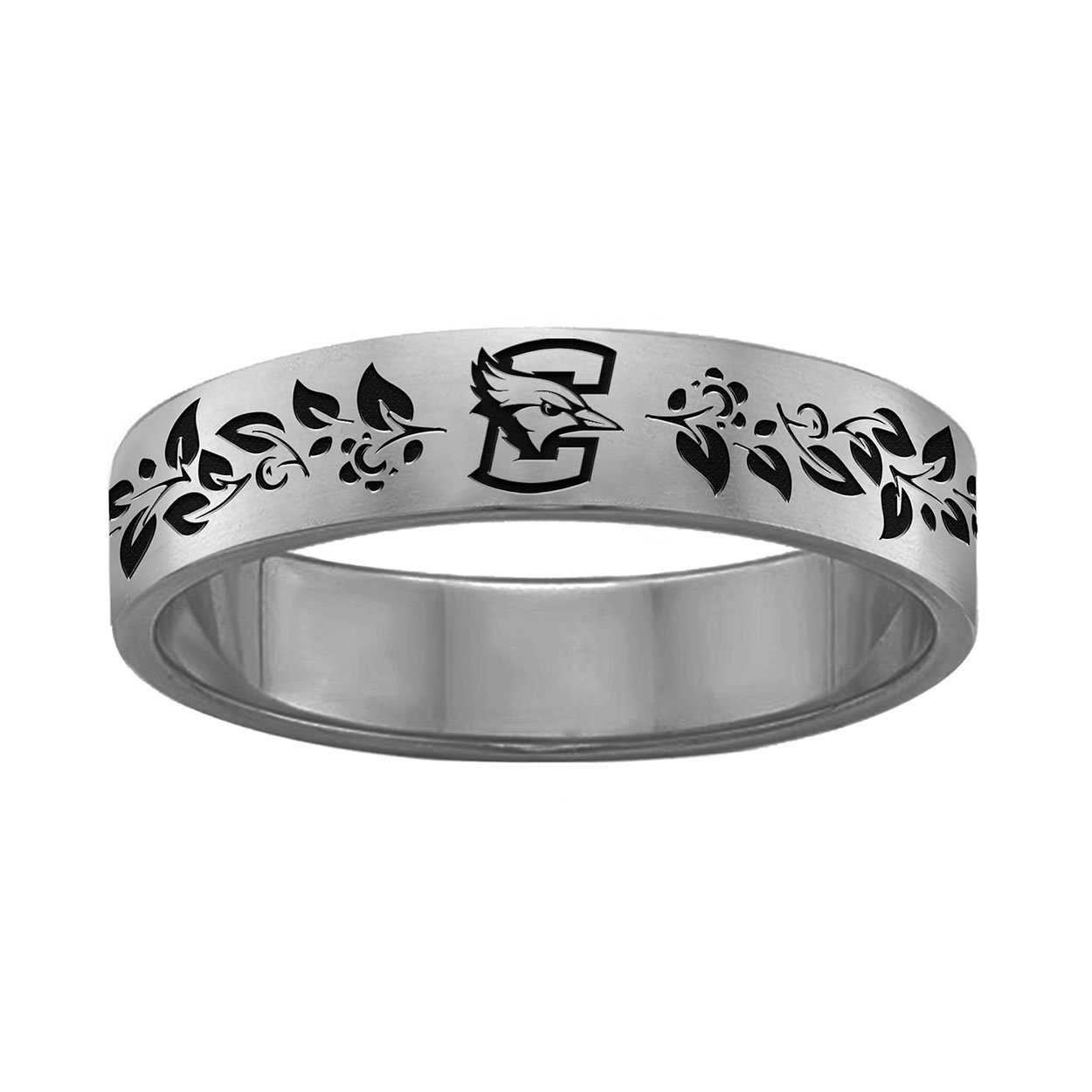 College Jewelry Organic Style Creighton University Bluejays Rings Stainless Steel 6MM Wide Ring Band Vine Design