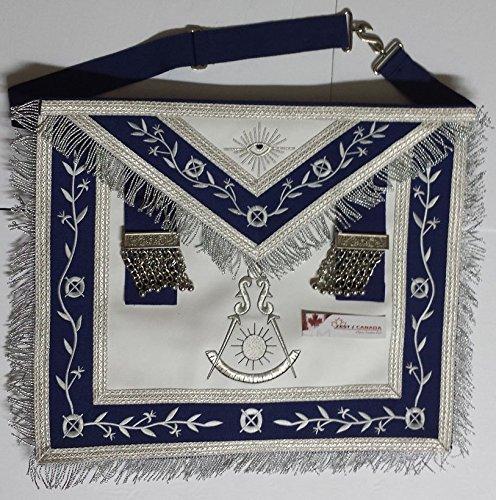 Masonic Apron -Past Master Apron Navy Blue Silver With Fringe (Blue & (Masonic Past Master Apron)