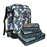 Hynes Eagle 38L Flight Approved Weekender Carry on Backpack, Leaf with Yellow Flower 3PCS Paking Cubes