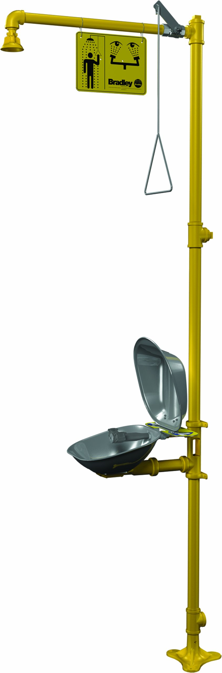 Bradley S19-310DC Galvanized Steel 3 Spray Head Combination Drench Shower and Eyewash Unit with Stainless Steel Bowl and Hinged Dust Cover, 20 GPM, 10-3/4'' Width x 90-1/2'' Height x 25-3/8'' Depth, Yellow