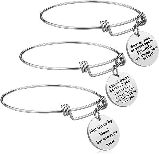 Amazon.com: 3 pulseras de regalo para mejor amiga, de acero ...