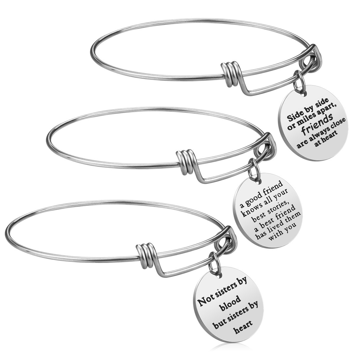 iJuqi Charm Charm Bracelet - 3 PCS Stainless Steel Expendable Inspirational Bangle Bracelets BFF Jewelry Set Graduation Gifts Birthday Gifts (3 Pcs- White)