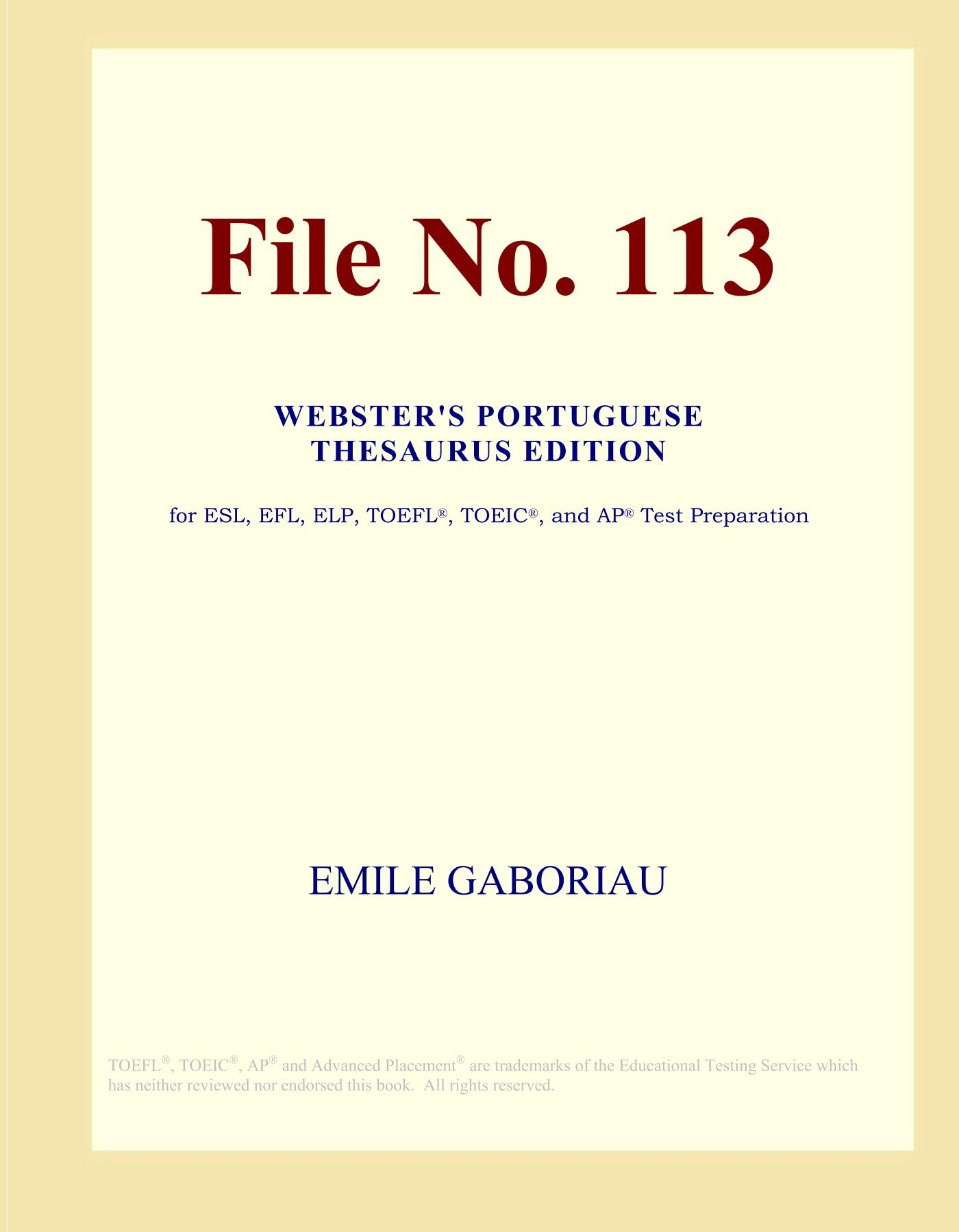 Download File No. 113 (Webster's Portuguese Thesaurus Edition) pdf