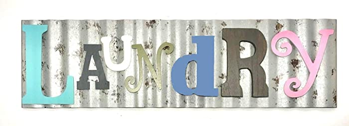 Generic Laundry Galvanized Metal Colorful Wooden Letters Wall Decor Laundry Room Wash Room Sign Rustic and Unique,Pink