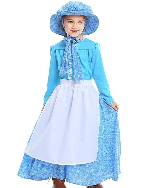 A&J DESIGN Disfraz Niña Victoriana Traje Colonial Vestido con ...