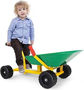 "Costzon 8"" Kids Ride-on Sand Dumper, Children Outdoor Sandbox Toy Wheelbarrow Sit On, Heavy Duty Steel Digging Scooper Excavator Crane with 4 Wheels, Metal Garden Play Tools for Boys & Girls (Green)"
