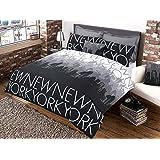 Great Knot Parure de lit 50% polyester 50% coton Motif et inscription New York, New York Charcoal, Single 137x200 cm