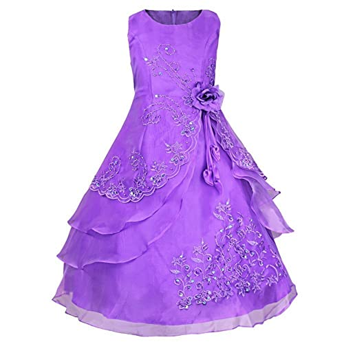 Eagsouni Girls Flower Embroidered Dress Princess Layered Formal Wedding Party Bridesmaid Prom Ball Gown Dresses