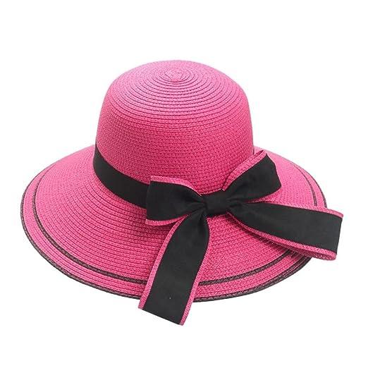 aliveGOT Floppy Women Sun Beach Hats Wide Brim Straw Hat Big Bow Knot  Design Cap ( 494e190c3958