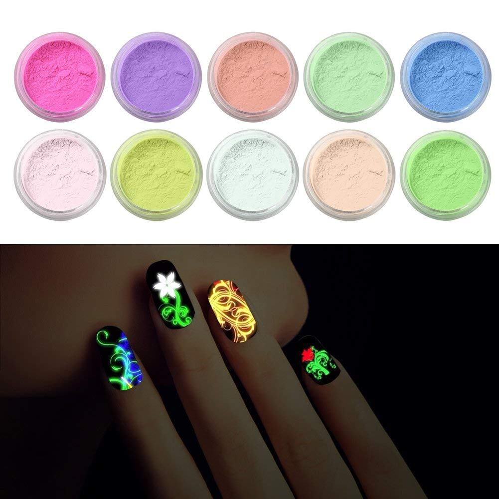 BOMIEN Luminous Fluorescent Nail Tip, 10 Colours Glow In The Dark Nail Powder Fluorescent Acrylic Powder Nail Art Makeup Decoration Glitter Dust Powder Neon Pigment Nail Art