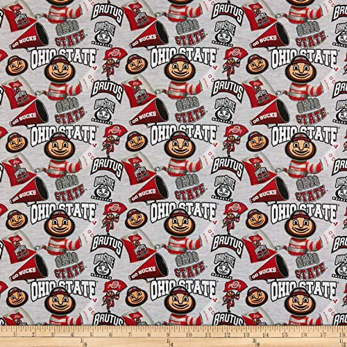Ncaa Fabric - Sykel Enterprises NCAA Cotton Broadcloth Ohio State Collegiate Mascot Fabric, Team Color, Fabric By The Yard