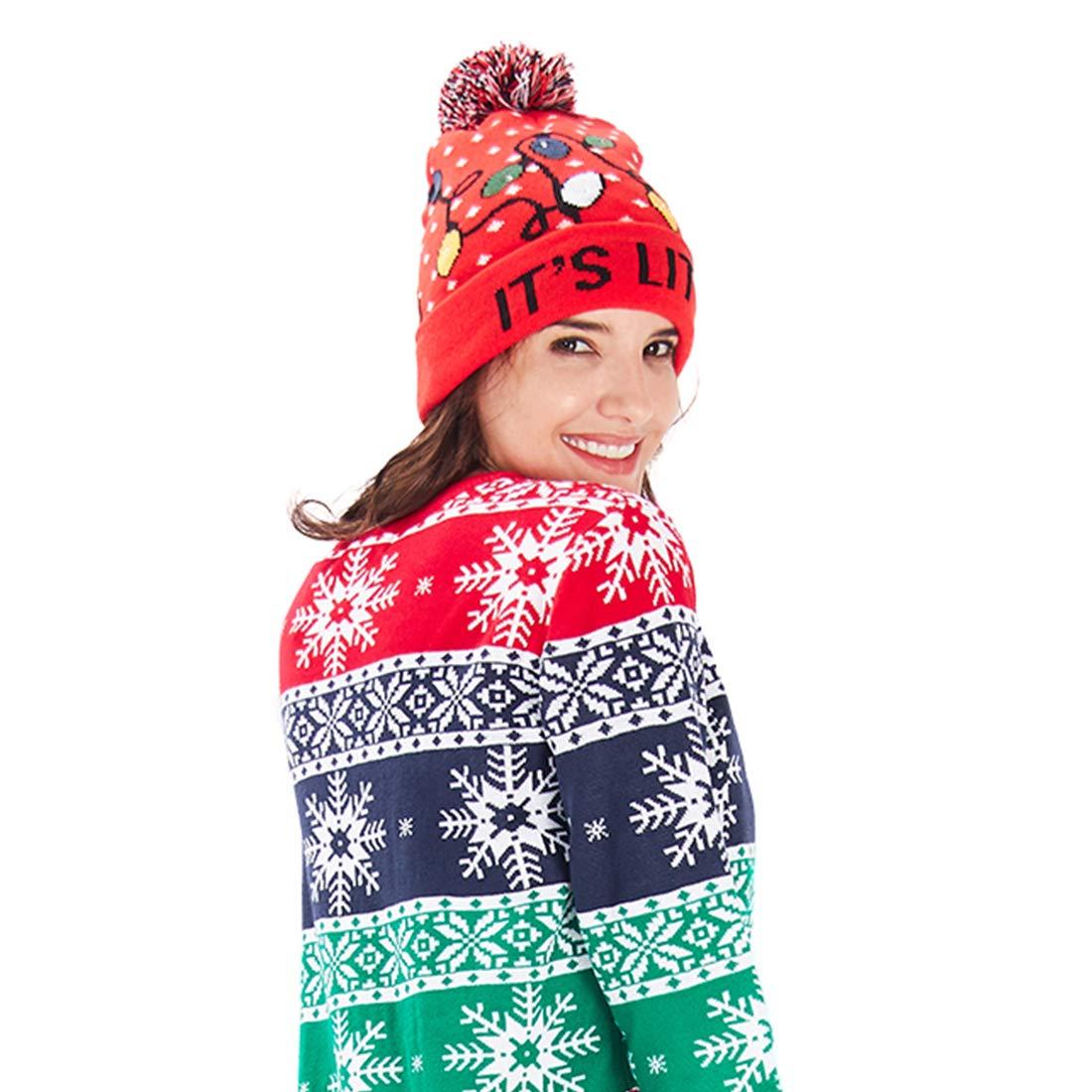 chicolife Unisexo Novedad Navideño Sombrero con Mini Bombilla Colorida Xmas Gorro Calentar Lana Gorro para Hombres Mujeres Niños Niñas Fiesta/Baile/Cumpleaños