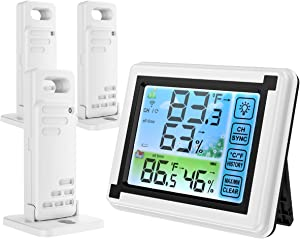 ORIA Touchscreen Temperature Humidity Monitor, Indoor Outdoor Thermometer Humidity, Digital Thermometer Hygrometer with 3 Wireless Sensors, Min and Max Records for Home, Office