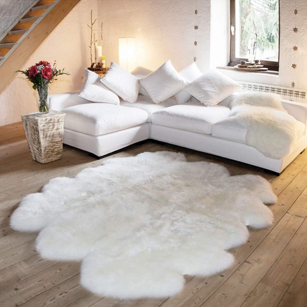 """DUANG Kunstpelz Schaffell Teppich Lammfell Weich Und Seidig Haar 5-6cm Weiß Für Stuhl Bett Sofa Boden 70.8""""x 78.7"""" Waschbar"""