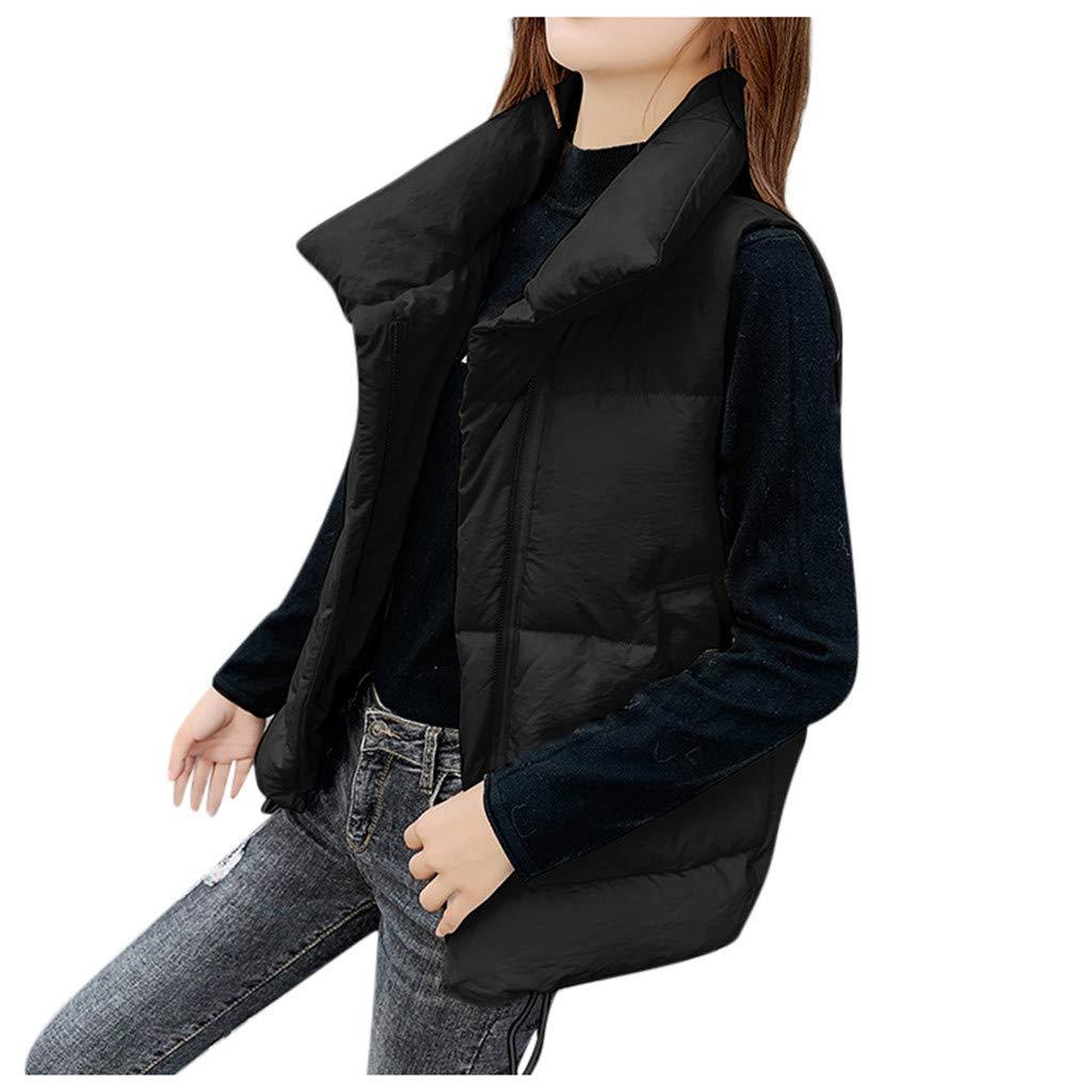 Yanvan Women Vest Coat Outerwear Faux Button Coat Sleeveless Solid Jackets Pocket Coats by Yanvan