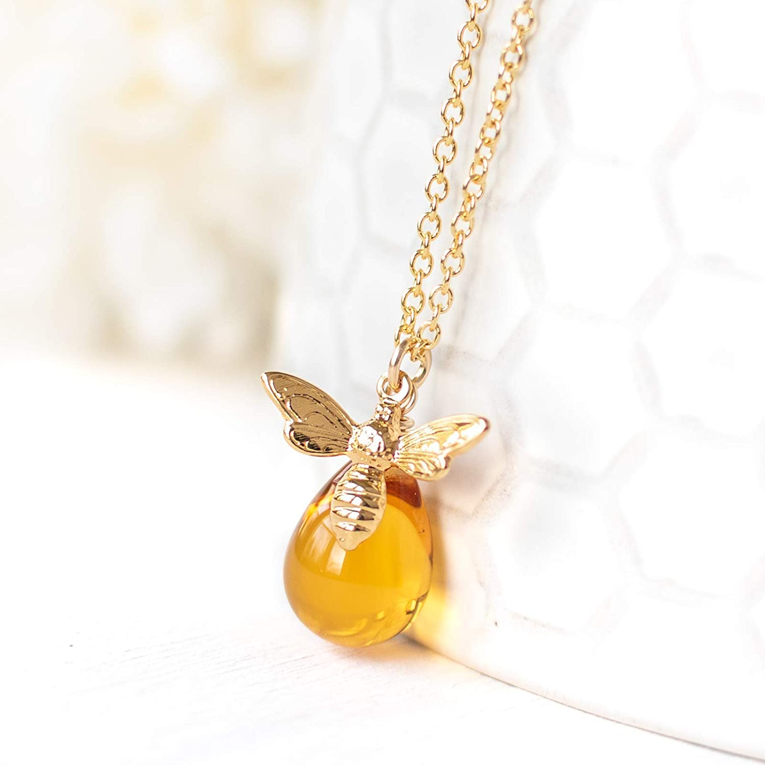 Gold-Filled Honey Bee Charm Necklace