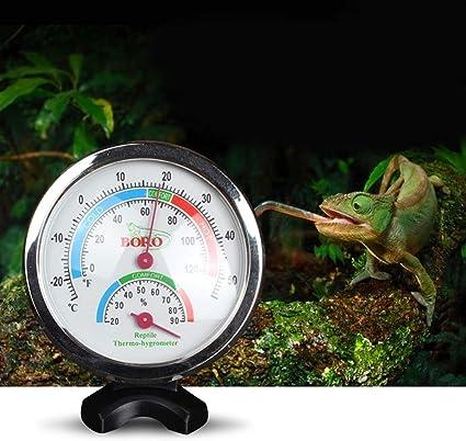 POPETPOP term/ómetro y medidor de Humedad para Reptiles-Reptil Vivarium term/ómetro Reptil Luminoso termohigr/ómetro