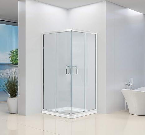 Mampara de ducha de esquina de alta calidad con 2 puertas correderas de cristal transparente 6 mm H195: Amazon.es: Bricolaje y herramientas