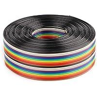 Aramox platte lintkabel, kleurrijke 1,27 mm afstand pitchkabel 20P platte regenboog lintkabel Draadbreedte 2,54 cm(3…
