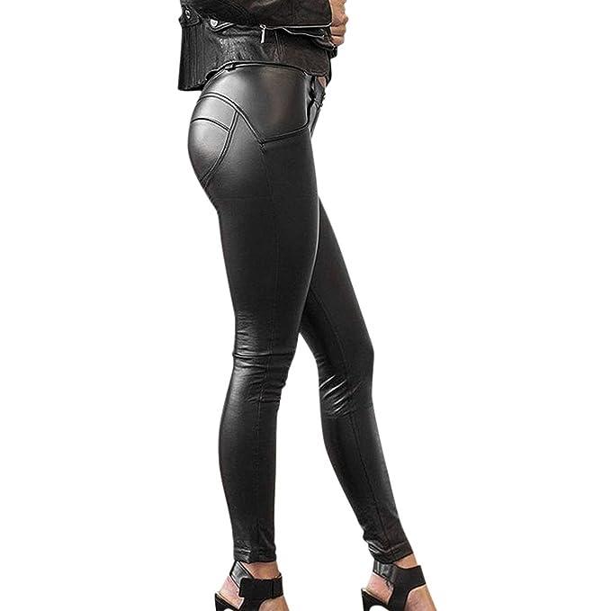 ed30872ede Saoye Fashion Pantalon Cuero Mujer Vintage Leggins Cuero Skinny Delgado  Niñas Ropa Pants Sintético Cuero Treggins Slim Fit Cintura Alta Pantalon  Cuero ...