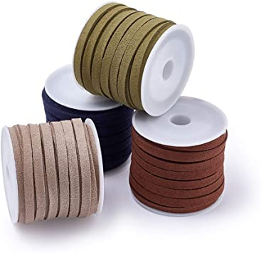 PandaHall Elite 6 Rolls 4mm Flat Micro Fiber Faux Leather Suede Cords Lace Velvet Beading String 5.5 Yard per Pack Jewelry Making 6 Colors