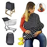 Nursing Breastfeeding Cover Scarf + Baby Car Seat Cover Canopy + Shopping Cart Stroller Cover + High Chair Cover for Infant Girls and Boys. Best 4 in 1 Multi Use Stretchy Covers (Stars)