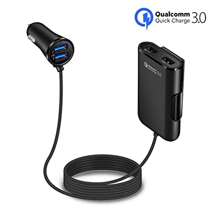 Techbuds Quick Charge QC 3.0 Car Charger for Front/Back Seat Charging Car Cigarette Lighter Chargers Adapter with 4 USB Ports Vehicle Charger for ...