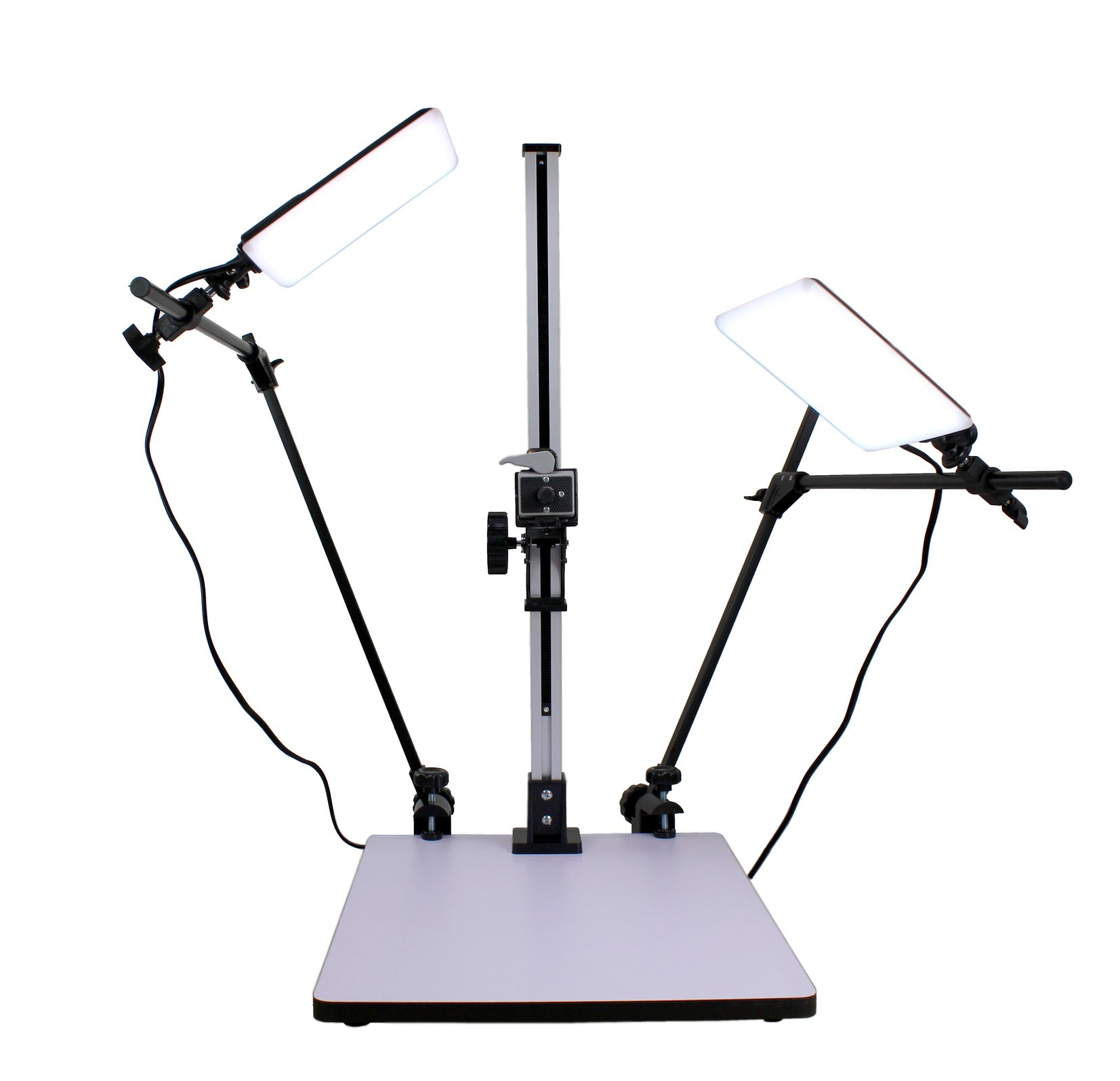 Albinar High Load 28'' Copy Macro Stand with 15.75''x19'' Base, Quick Release Mount and Two Daylight Spectrum 5600K 16W LED Lights