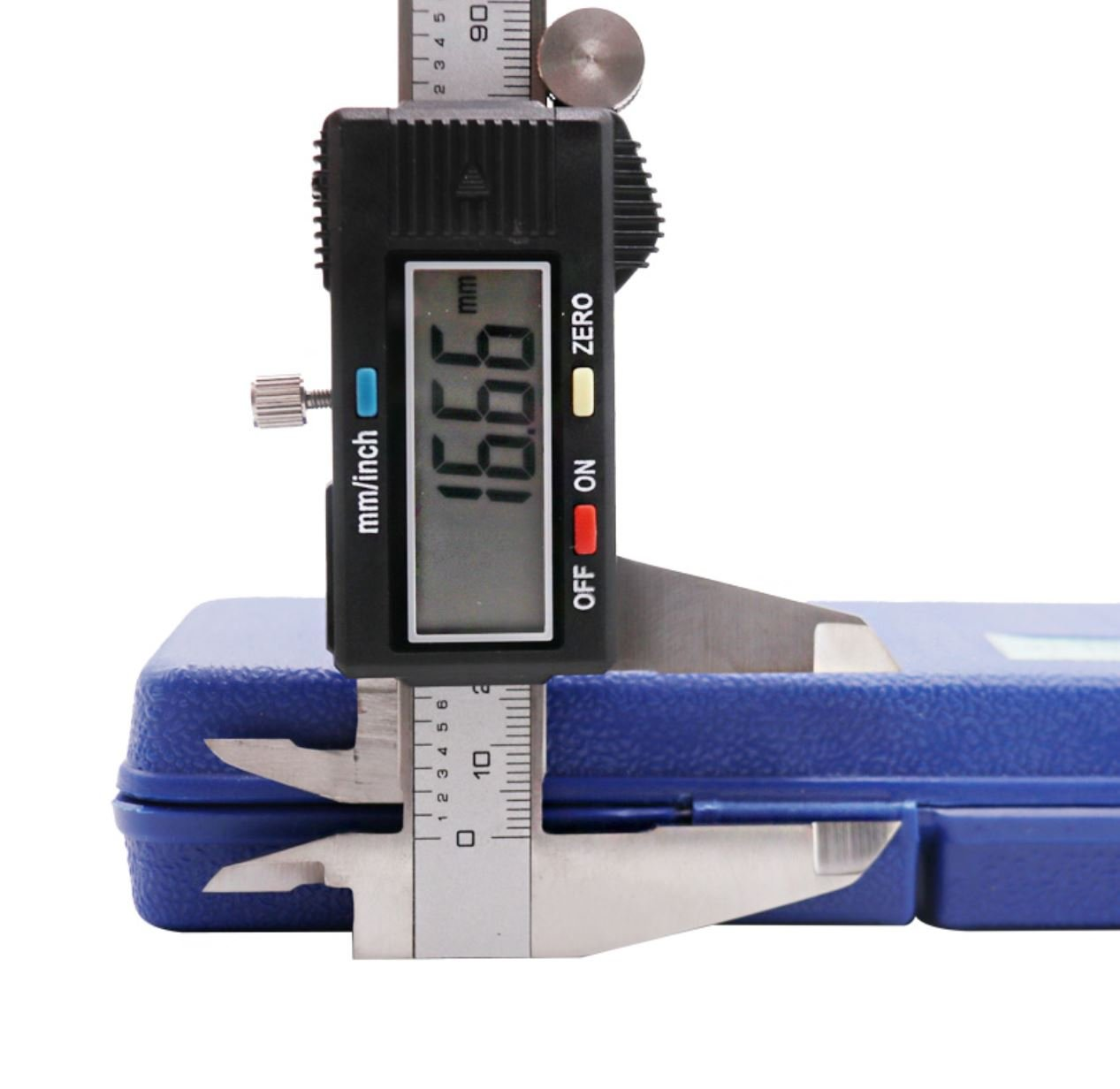Electronic Digital Caliper 0-6 inch/150mm Vernier Extra Large LCD Screen, Stainless Steel Body, Conversion Millimeters Inches Precision Measurement Tool Depth Inside Step Outside Gauge Auto Off, Case by CaliFra (Image #8)