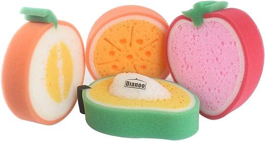 Cute 4PCS Fruit Dish Washing Cleaning Cloth Gadget Sponge Scouring Kitchen Tool