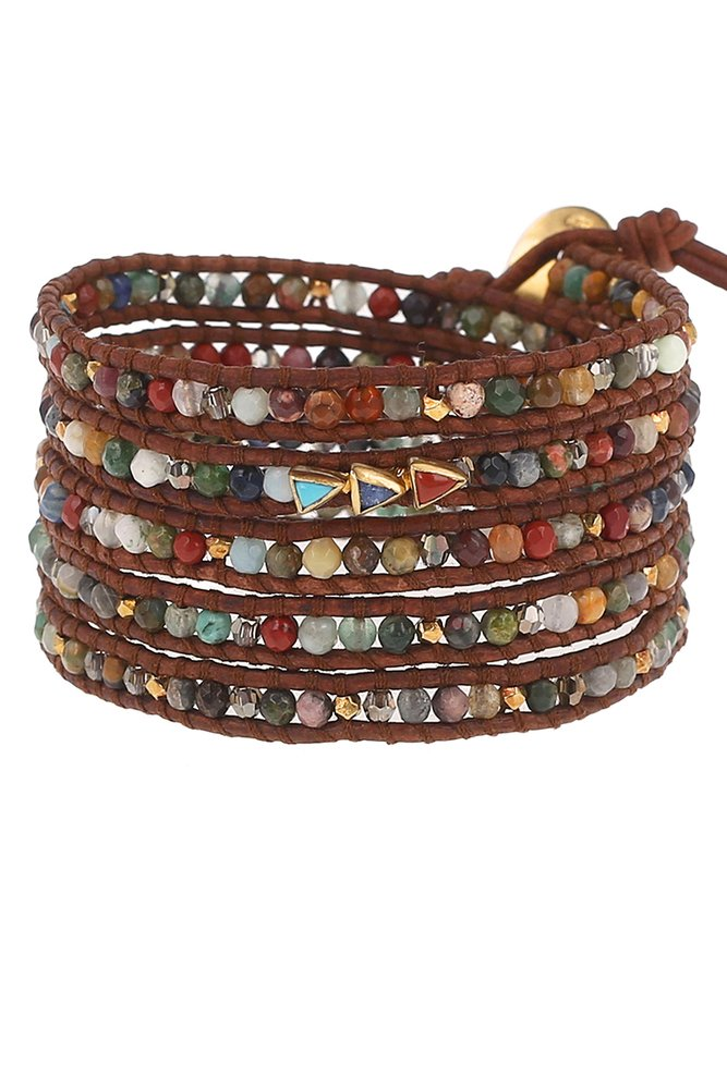 Chan Luu Multi Cabochon Wrap Bracelet in Natural Brown Leather