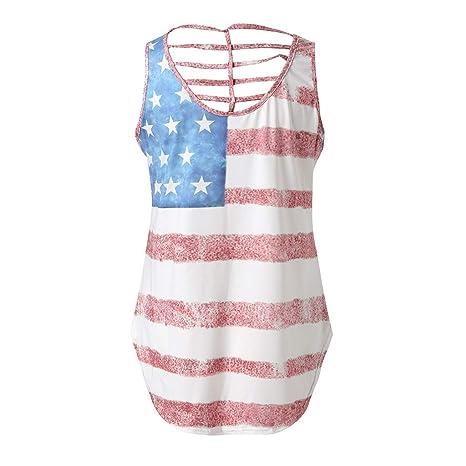 2fb9b046e7b Amazon.com   Fiaya 4th Of July Women Clothes Tank Top Sleeveless O Neck American  Flag Loose T-Shirt Vest (White Oblique Stripe