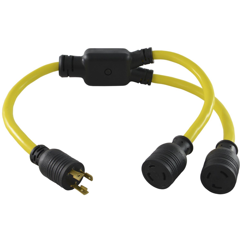 Conntek 3-Feet Generator Y Adapter, 30-Amp L5-30P Plug to (2) 30-Amp Female Connector L5-30R