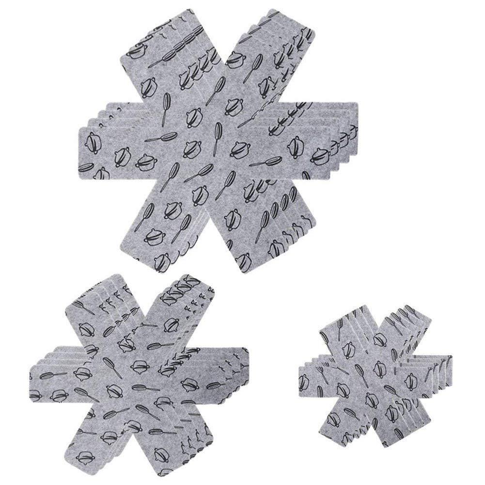 TOOGOO Protecteurs de Poele et Casseroles, Proteges Poeles-Separateurs de Casseroles Anti-adhesives et Decoupable pour Preservent Griffures ou Rayures-3Tailles (38cm, 35cm,26cm) - 15pc