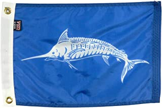 product image for 12x18 White Marlin Boat Fishing Flag, All Weather Nylon for Outdoor - Made in The USA