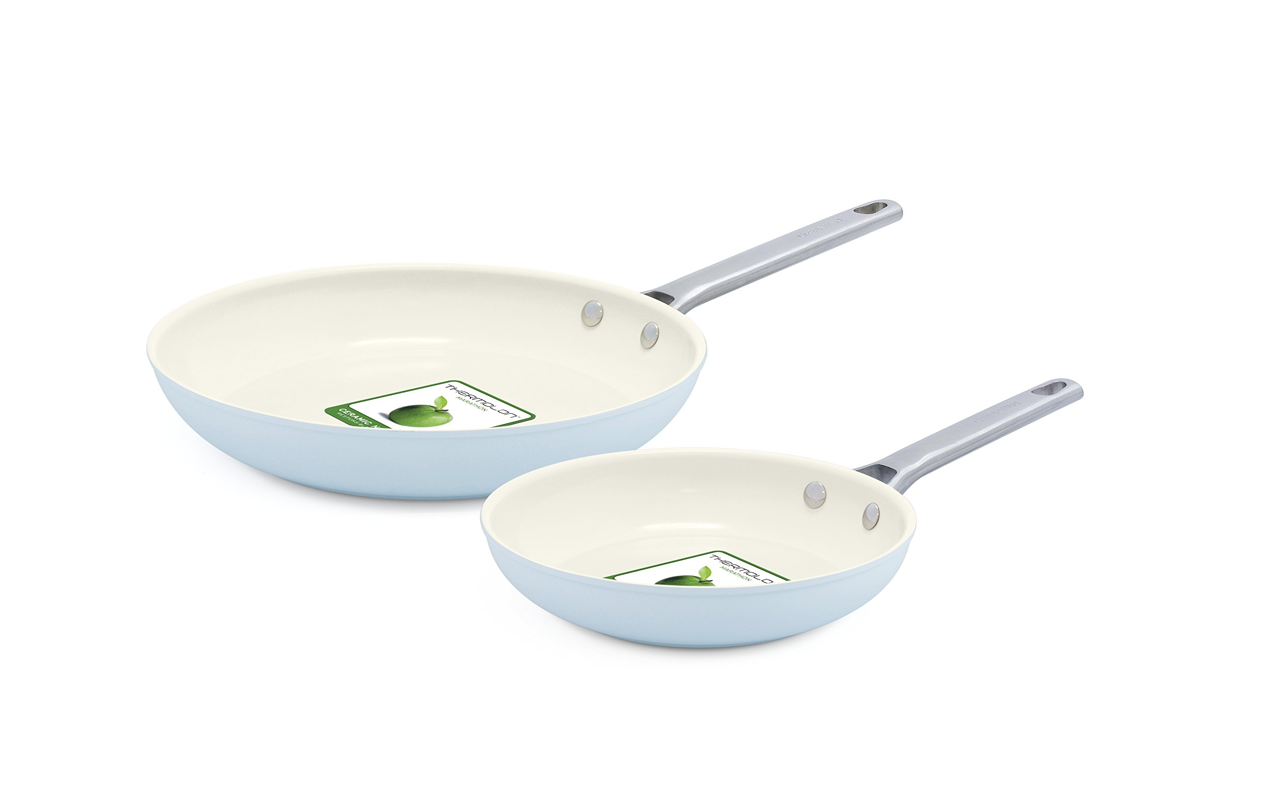 GreenPan Padova 8'' and 10'' Ceramic Non-Stick Open Frypan Set, Light Blue