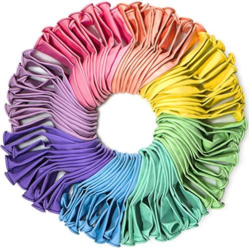 WinkyBoom Pastel Rainbow Balloons Assorted Color 100 Pcs Unicorn Birthday Party Decoration
