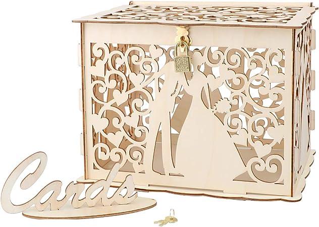 VINFUTUR Caja para Tarjetas de Boda Caja Dinero de Boda Regalos con Encaje Suministros Fiesta 25 * 20 * 18cm: Amazon.es: Hogar