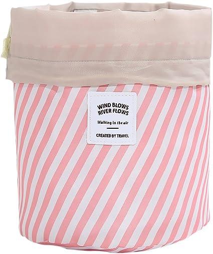 Bolsa de cosméticos, tela Oxford a rayas, con cordón, organizador de maquillaje, estuche para viajes, almacenamiento en casa, regalo para mujeres y niñas: Amazon.es: Belleza