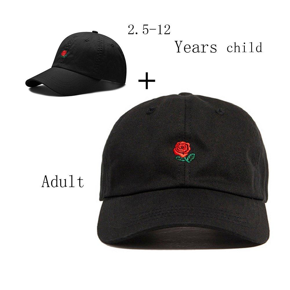 FGSS Unisex Rose Embroidered Adjustable Strapback Dad Hat Baseball Cap Mutiple Colors (Free, Black(Adult + Children))