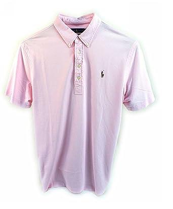 7acc1d3106026 Polo Ralph Lauren Men s Knit Oxford Mesh Carmel Pink Hampton Polo Shirt  (Medium)