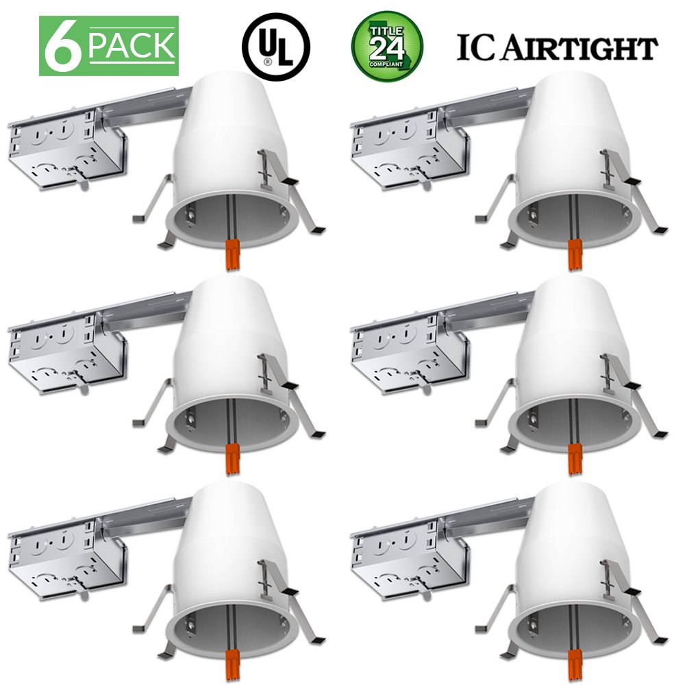 Sunco Lighting 6 Pack of 4'' inch Remodel LED Can Air Tight IC Housing LED Recessed Lighting- UL Listed and Title 24 Certified