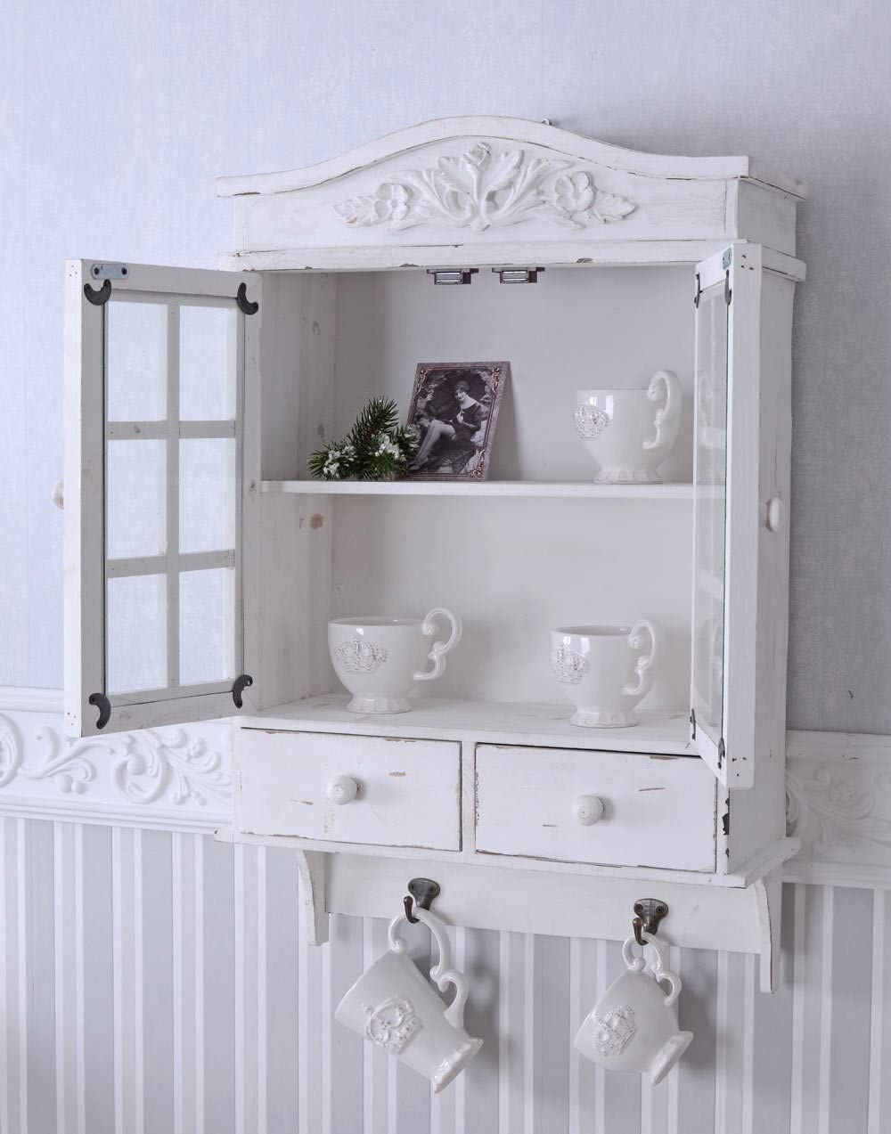 Vintage Wall Cabinet White Closet Shabby Chic Wall Showcase