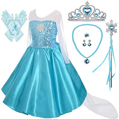 Lito Angels Girls Princess Dress Up Costumes Snow Queen Dress Halloween Christmas Costume with Accessories: Clothing
