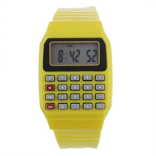 7a63323e84d7 Cebbay Reloj para niños Unisex de Silicona Multi-Propósito Fecha Hora  Calculadora de Pulsera electrónica Reloj Ocio Moda Noble (Amarillo)   Amazon.es  ...