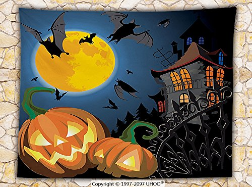 Halloween Decorations Fleece Throw Blanket Gothic Scene with Halloween Haunted House Party Theme Decor Trick or Treat for Kids Throw (Cape Town Halloween Party)
