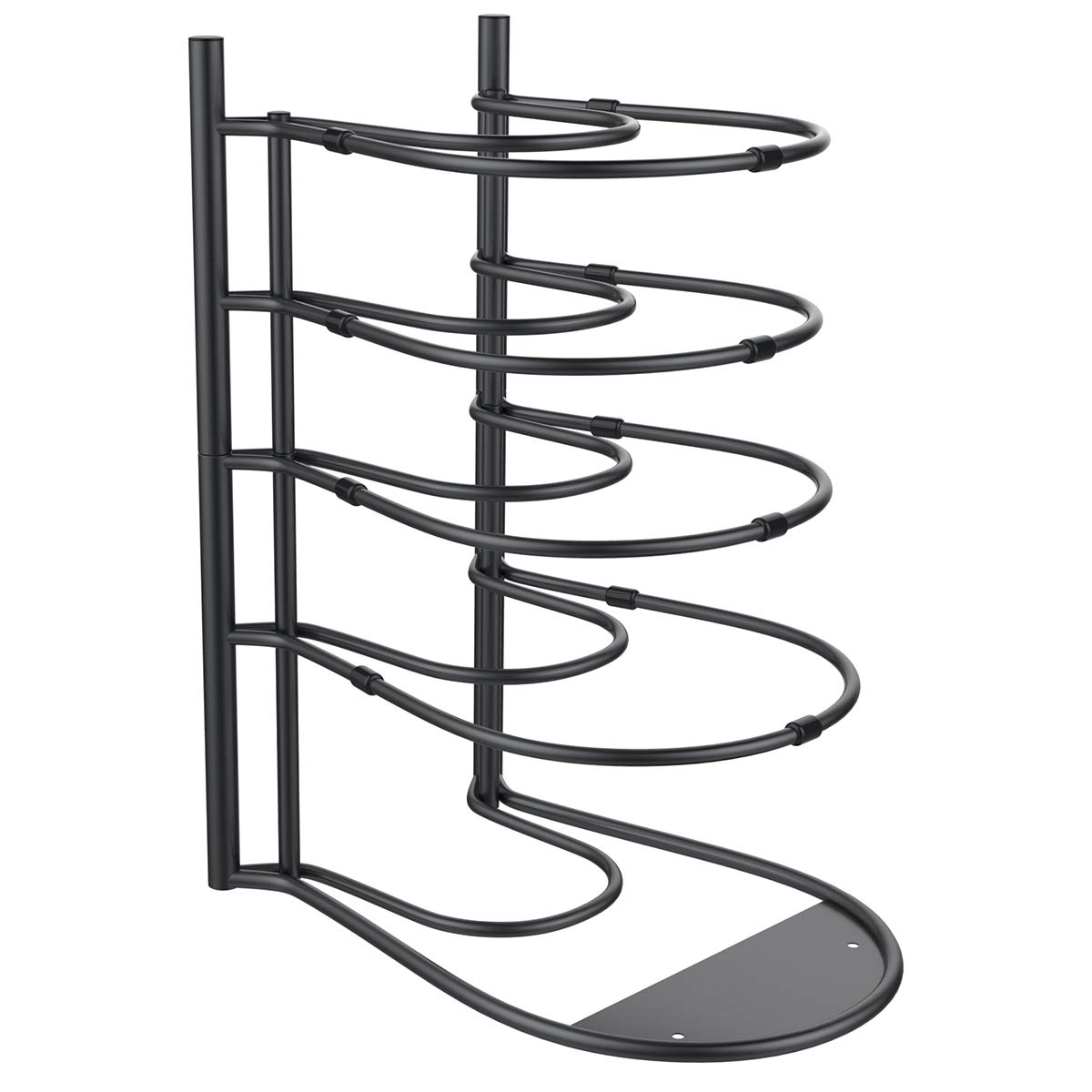 Pan Pot Lid Rack Organizer Shelf Heavy Duty, Kitchen Cabinet Cookware Rack Countertop Pantry Storage Holder, Black (Upgraded version) by WOSOVO (Image #2)
