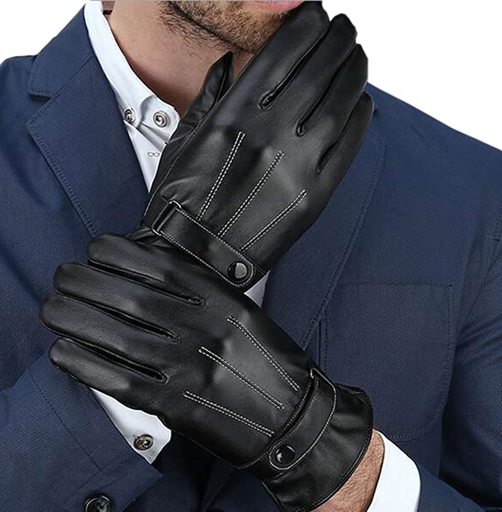 LE BI YOU Luxurious Mens Fshion Sheepskin Touchscreen Gloves Driving Gloves Winter Warm Gloves with Coral Fleece Lining