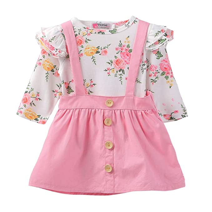 559969c3ffd GRNSHTS Baby Girls Floral Suspenders Skirt Set Ruffle Long Sleeve Bodysuit  + Botton Overalls (Pink